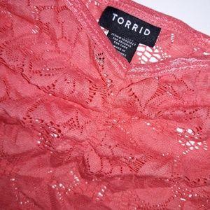 Torrid Coral Lace Tank Cami Sheer 4x Orange Pink